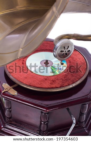 Old gramophone with a cd - stock photo