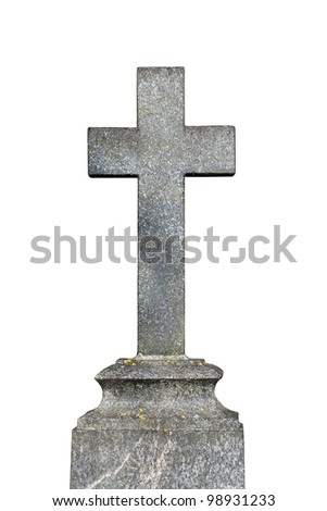 Old granite cross isolated on white background - stock photo
