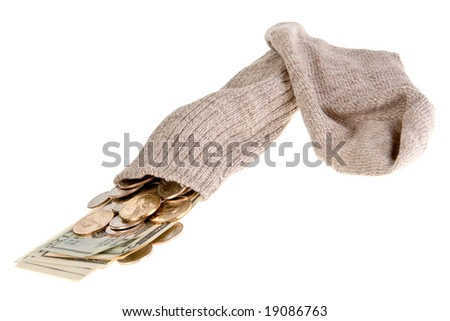 Old gray sock as the safest place to put your money - stock photo