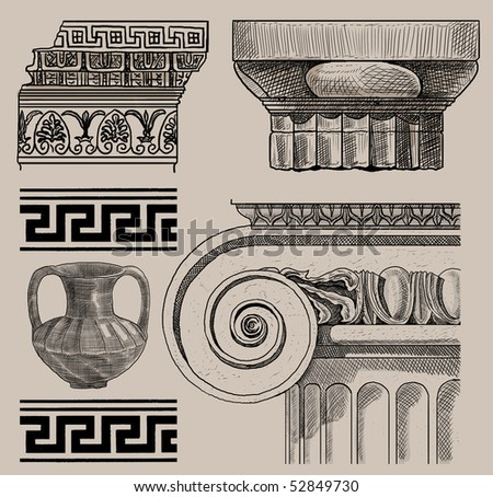 Old greek column and amphora - stock photo