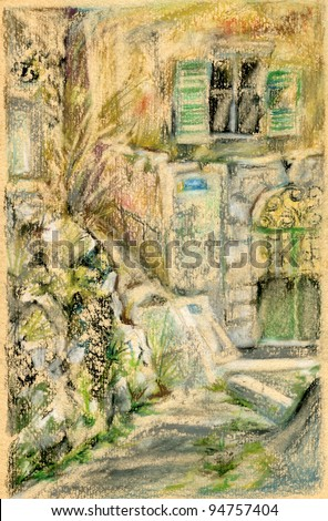 Old Greek house with green blind. - stock photo