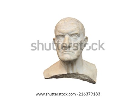 Old Greek man marble bust - stock photo