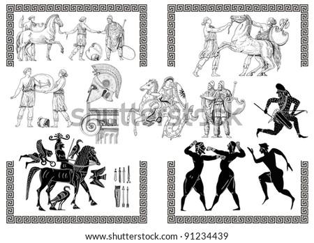Old greek set illustration - stock photo