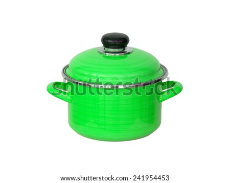 Old green metal cooking pot isolated on white - stock photo