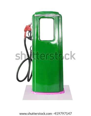 Old green petrol gasoline pump isolate on white background - stock photo
