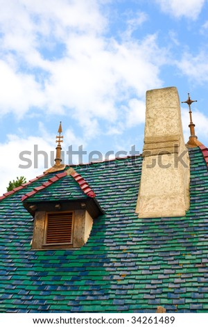 old green roof - stock photo