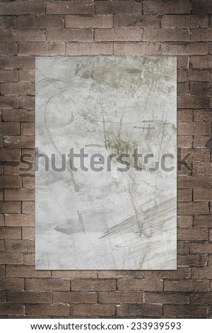 Old grung brick wall with sement board for text background - stock photo
