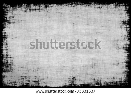 Old grunge antique canvas texture with frame - stock photo