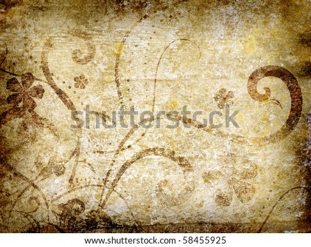 Old grunge antique paper texture with floral pattern - stock photo