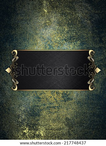 Old grunge background with black plate with gold trim. Design template. Design site - stock photo