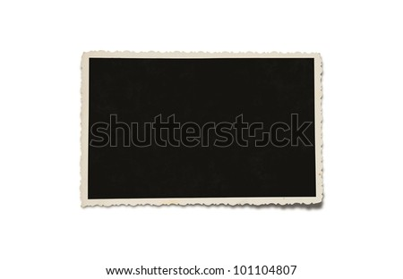 Old grunge blank photograph isolated on white background with clipping path for the inside - stock photo