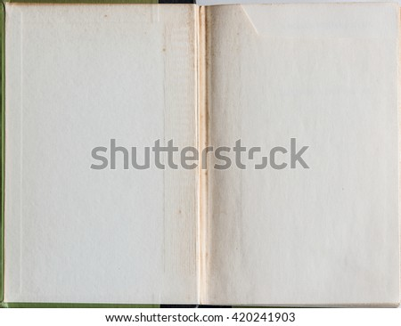 Old grunge book opened to the first page showing aged textured pages inside. - stock photo