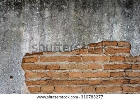 old grunge brick wall. cracked wall - stock photo