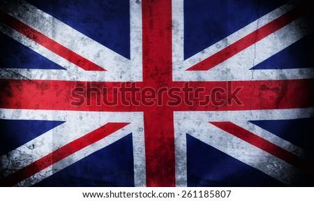 Old grunge Closeup image of UK, British flag, Union Jack - stock photo