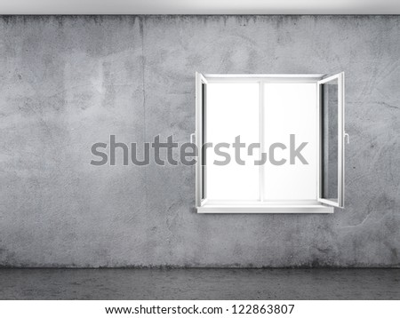 Old grunge concrete wall with white window - stock photo