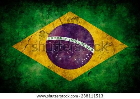 old grunge flag of Brazil  - stock photo