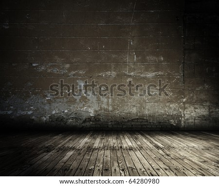 old grunge interior, vintage background - stock photo