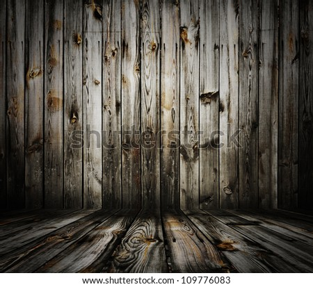 old grunge interior, wooden background - stock photo