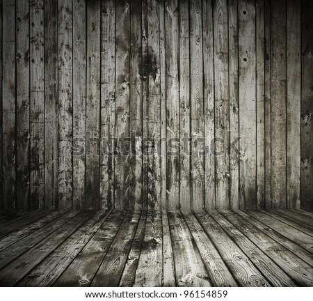 old grunge interior, wooden background - stock photo