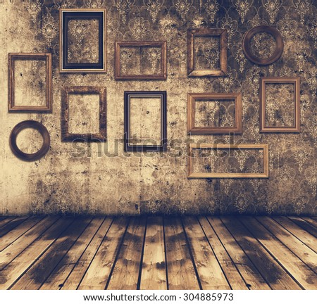 old grunge interior wooden frames, retro filtered, instagram style - stock photo