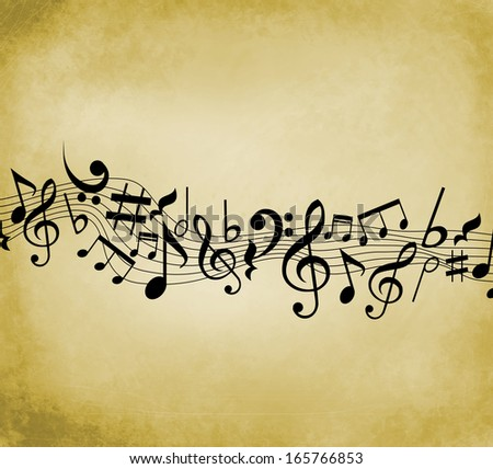 Old grunge music background with black notes - stock photo