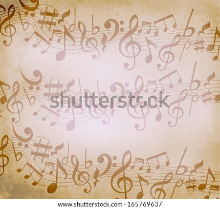 Old grunge music background with notes - stock photo