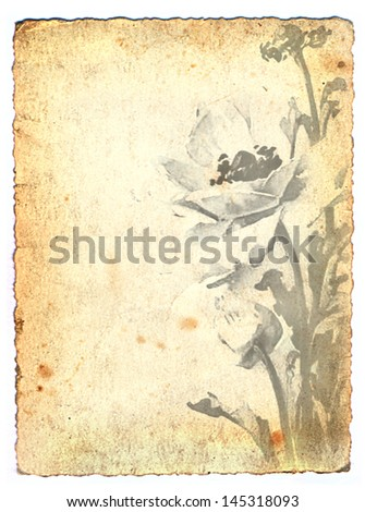 old grunge paper with flowers - stock photo