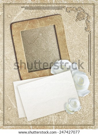 Old grunge photo frame with roses and paper for letter    - stock photo