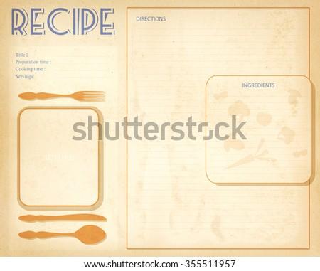Old grunge retro recipe card layout - stock photo
