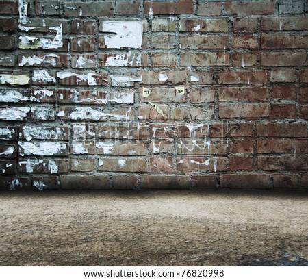 old grunge room, brick wall - stock photo
