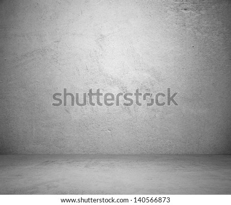old grunge room with concrete wall, black and white background - stock photo