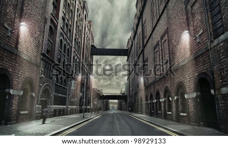 Old grunge street - stock photo