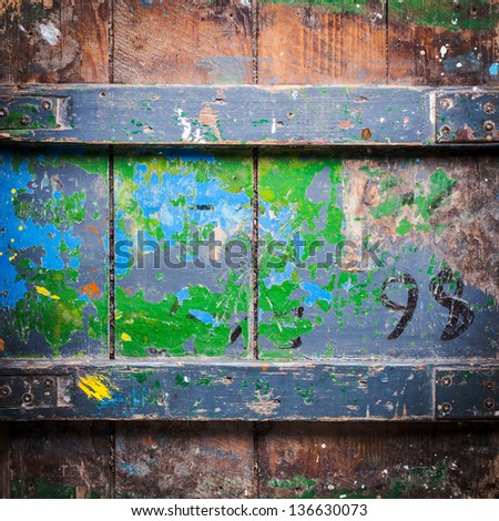 Old grunge wood box used as background - stock photo