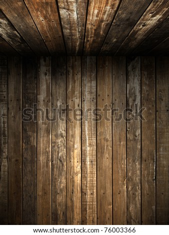 Old Grunge wood wall and ceiling in the room - stock photo