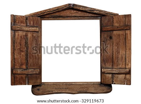 Old grunge wooden window frame with shutters opened, isolated on white. - stock photo