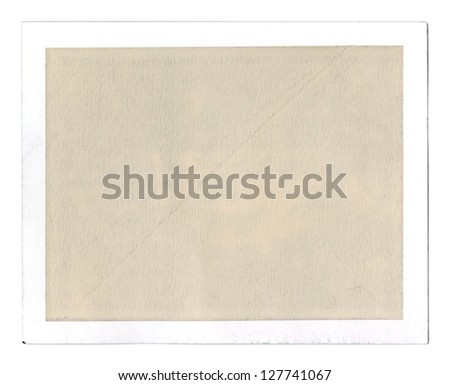 Old grungy blank peel-apart instant film frame, textured sepia filling for overlay, isolated - stock photo
