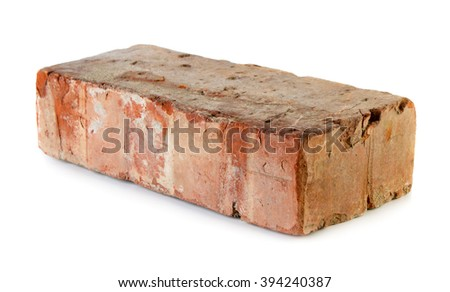 Old grungy brick isolated over white background - stock photo