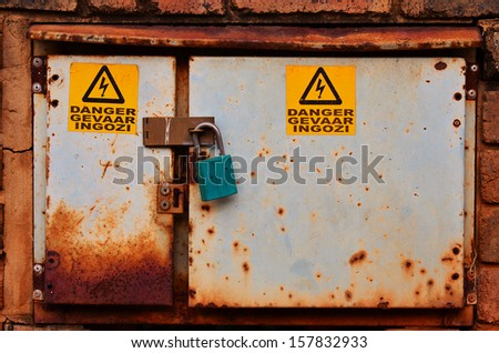 Old Grungy Electrical Box - stock photo