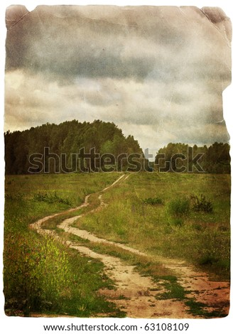 old grungy illustration, beautiful summer landscape - stock photo