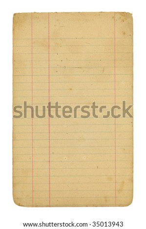 Old grungy note paper with rules and margins. The file has a clipping path for easy removal from background. - stock photo