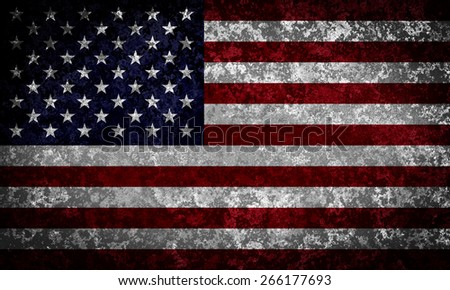 Old grungy USA flag - stock photo
