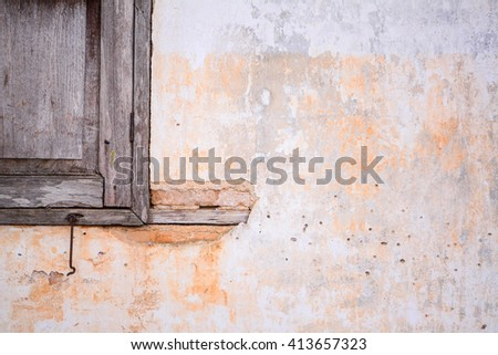 old grungy vintage brick wall and window texture - stock photo