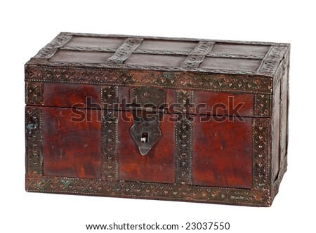 old grungy wooden treasure chest with rusty metal decoration - stock photo