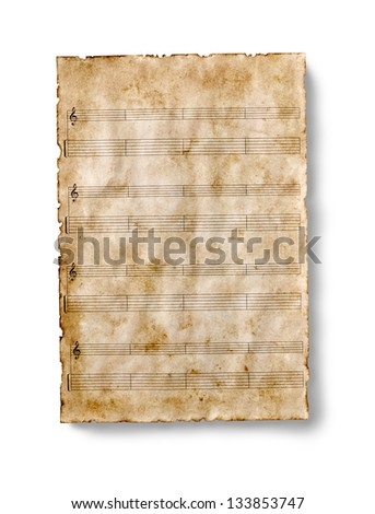 old guitar tablature sheet isolated - stock photo