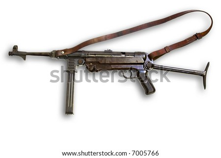 Old gun Schmeisser Germany on white background - stock photo