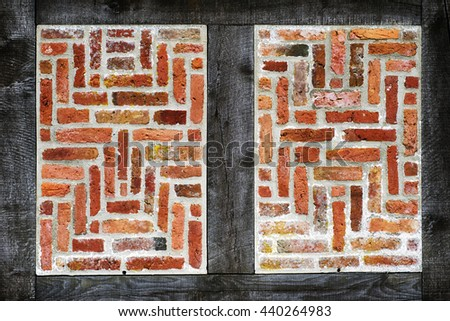 Old half-timbered  brick wall texture closeup for backgrounds - stock photo