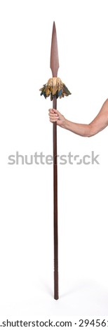 Old hand hodling an old wooden spear, isolated on white - stock photo