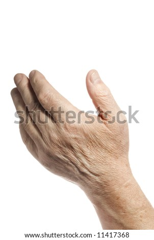 Old hand over white background - stock photo