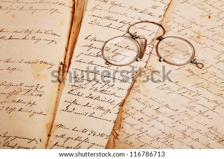 old, hand-written cook book with recipes - stock photo