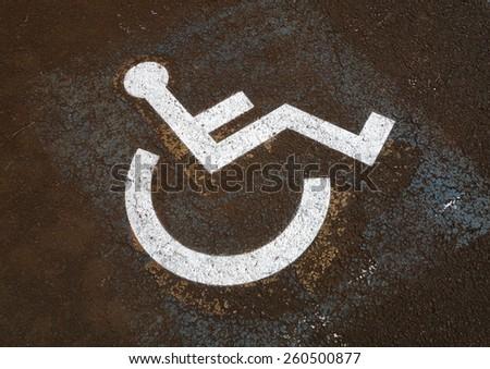 Old Handicap Parking Sign - stock photo
